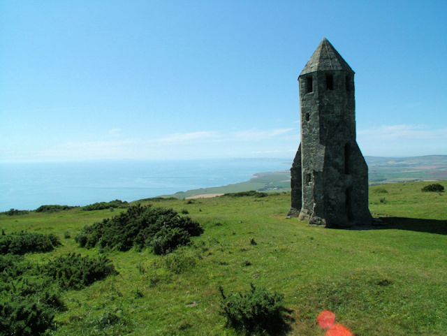 The medieval lighthouse St Catherine's Oratory known as The Pepperpot