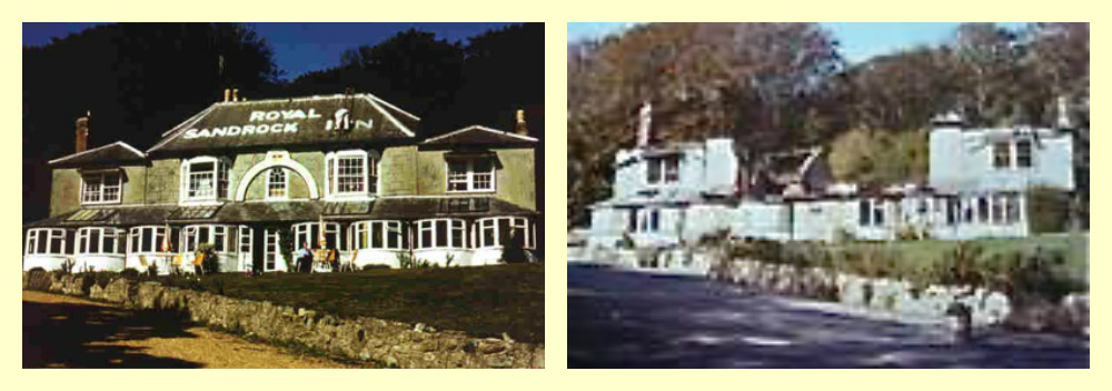 Photos showing the Royal Sandrock Hotel pre and post fire